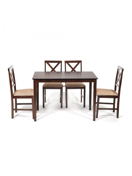 Обеденный комплект эконом Хадсон (стол + 4 стула)/ Hudson Dining Set дерево гевея/мдф, стол: 110х70х75см / стул: 44х42х89см, cappuccino (темный орех), ткань кор.-зол. (1