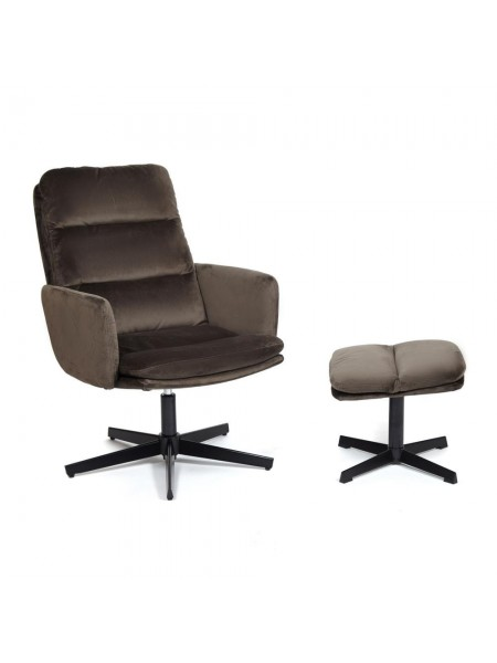 Кресло ALFRED с банкеткой (mod. DM7574-1) металл, ткань, 50*55*86, 43*43.5*39, коричневый (37-brown)