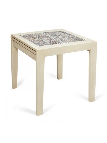 CT 3030 Kasablanca стол раскладной с плиткой дерево гевея/плитка, 73,5*73,5*75+73,5см , античный белый, рисунок - марокко