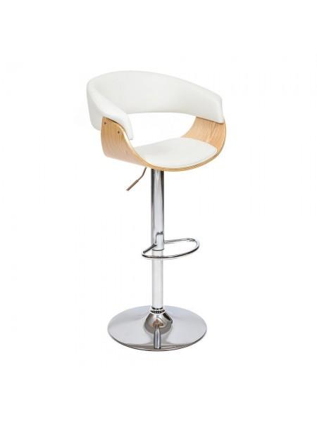 Барный стул VIMTA (mod.4021S) металл/дерево/экокожа, 60х51х91,5-112,5 см, высота сиденья 61,5-82,5 см, белый/натуральный/хром