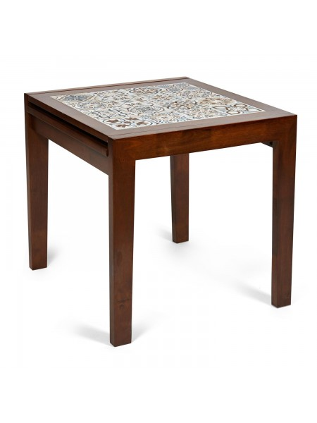 CT 3030 Kasablanca стол раскладной с плиткой дерево гевея/плитка, 73,5*73,5*75+73,5см , Тёмный Дуб, рисунок - марокко