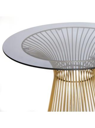 Стол ARGO ( mod. DT1471 ) металл/стекло, диаметр 80 см, высота 74,5 см, черный/золотой гальваник