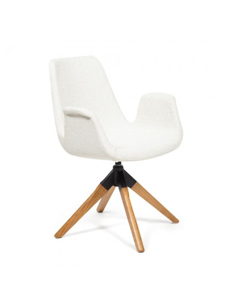 Кресло ROKIN (mod. DM4273A) дерево, металл, ткань, 63*62*90, белый (01-white)