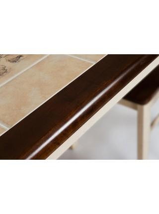 CT 3045P Стол с плиткой дерево гевея/плитка, 115х70х76см, Античный белый/Тёмный Дуб, рисунок-Дерево