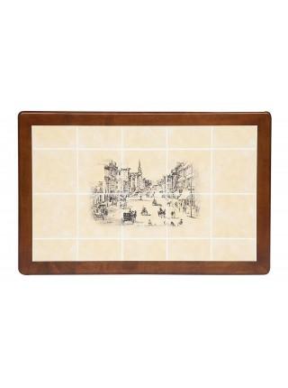 CT 3045P Стол с плиткой дерево гевея/плитка, 115х70х76см, Тёмный Дуб, рисунок-Город №2