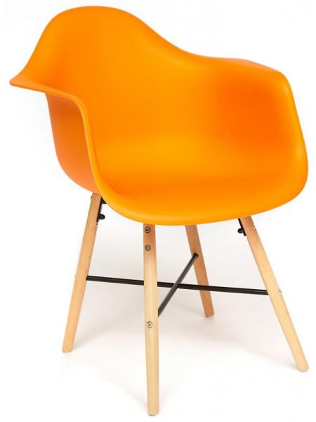 Кресло Secret De Maison CINDY (EAMES) (mod. 919) дерево береза/металл/сиденье пластик, 60*62*79см, оранжевый/orange with natural legs