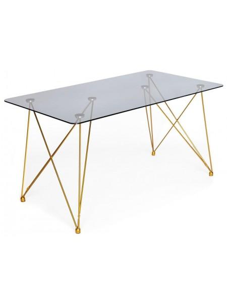 Стол VULCANO ( mod. DT1423 ) металл/стекло, 140*80*76 см, черный/золотой