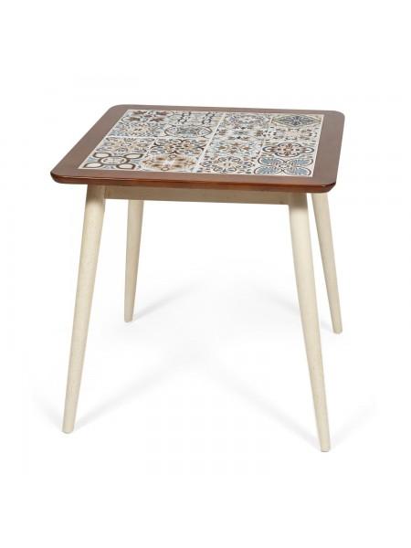CT3030 Marrakesh стол с плиткой дерево гевея/плитка, 73,5*73,5*75см, темный дуб/античный белый , рисунок - марокко