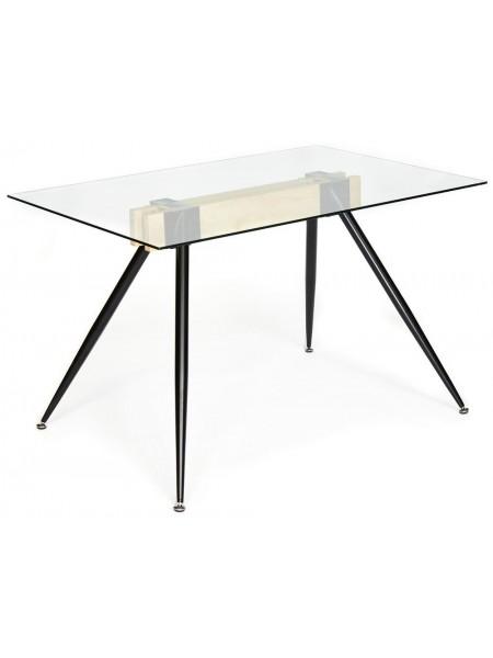 Стол FRONDO ( mod. DT1356) металл/стекло/дерево, 120*80*76 см, прозрачный/натуральный/черный