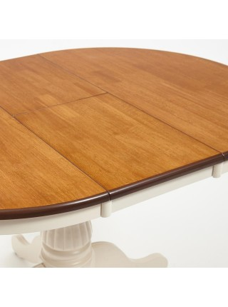 Стол NAVARRESE (mod. E-R36R+12AV NMO-2B) дерево гевея/мдф, D90+30x76см, rustic oak+cream (дуб+кремовый)
