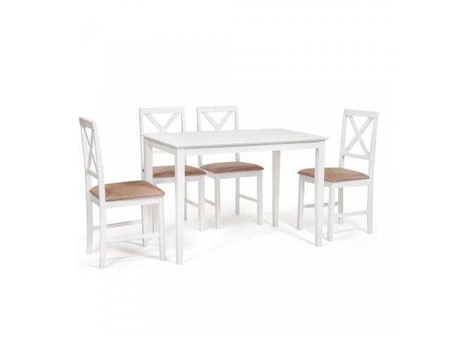 Обеденный комплект эконом Хадсон (стол + 4 стула)/ Hudson Dining Set дерево гевея/мдф, стол: 110х70х75см / стул: 44х42х89см, pure white (белый 2-1), ткань кор.-зол.(1505