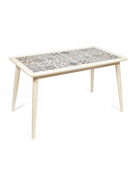 CT3052 Tanger стол с плиткой дерево гевея/плитка, 74*134*75см, античный белый, рисунок - марокко
